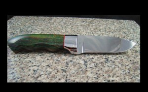 Custom handmade knife, mirror polished 440C blade with stone handle, green agate