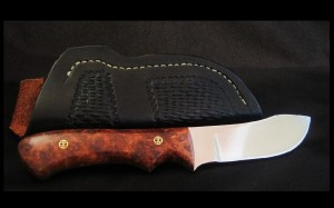 Amboyna burl hand made custom skinning knife