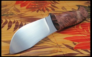 Fiddleback maple custom hand made knife CPM154 steel