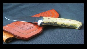 Custom handmade knife, mirror polished ATS34 blade with stabilized box elder burl handle